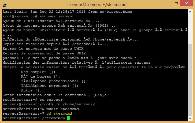 cd dossier steamcmd